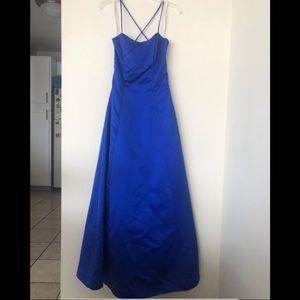 Royal Blue Formal Prom Satin Dress A-Line